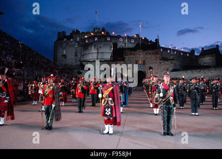 Massed pipes and drums at the 2011 Edinburgh Military Tattoo in Edinburgh, Scotland. - Stock Photo