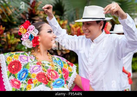 Pure joy - Puerto Vallarta, Jalisco, Mexico. Xiutla Dancers - a folkloristic Mexican dance group in traditional - Stock Photo