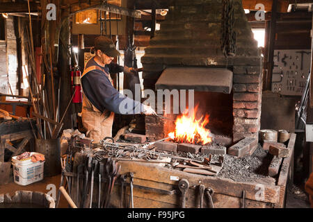 A living history blacksmith museum, the Green Family Forge pays hommage to the six generations of family members - Stock Photo