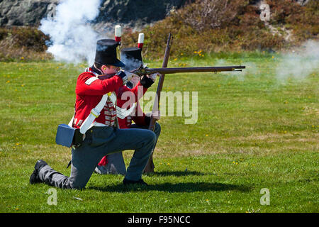 Two staff members of Signal Hill National Historic Site reenacting firing exercises while dressed in Royal Newfoundland - Stock Photo
