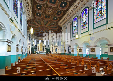 Interior of the Basilica Cathedral St. John the Baptist in St. John's, Newfoundland - Stock Photo