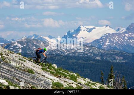 Mountain Biking, Eagle Pass, Mount English, Monashee Mountains, Revelstoke, British Columbia, Canada, alpine mountain - Stock Photo