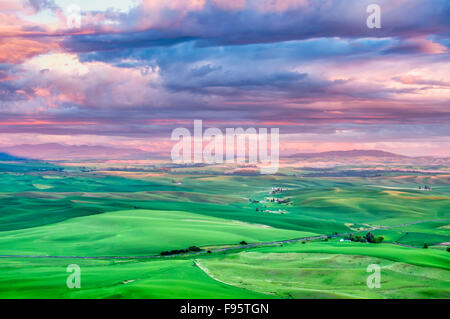 Sunrise  over rolling hills in the Palouse, The Palouse Scenic Byway, located in the heart of the Palouse region - Stock Photo