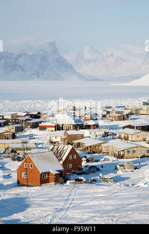 A view of Pangnirtung, Nunavut, Canada - Stock Photo