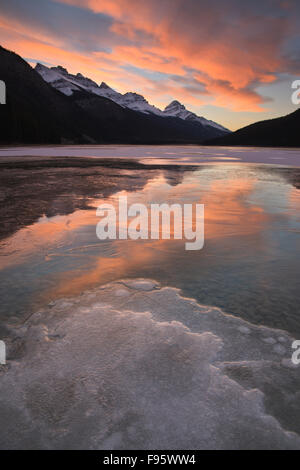 Lower Waterfowl Lake in early winter, looking south towards Bow Pass, Banff National Park, Alberta, Canada - Stock Photo