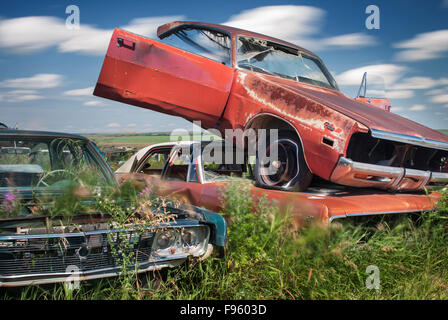 Stoystown Auto Wreckers >> car wreckers yard with wrecked cars piled on top of each other Stock Photo: 35735869 - Alamy