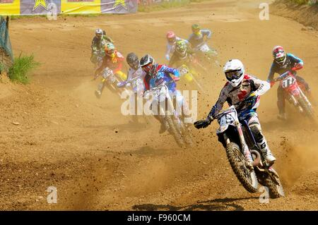 Motocross racing during the Rockstar Energy Pro Nationals at the Wastelands track in Nanaimo, BC. - Stock Photo