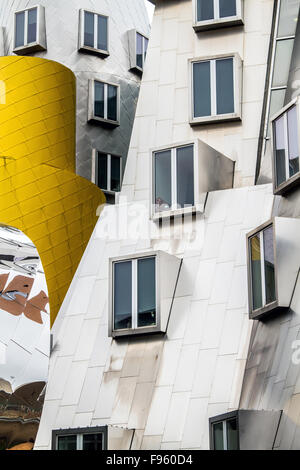 Closeup of the Ray and Maria Stata Center academic complex designed by Frank Gehry for the Massachusetts Institute of