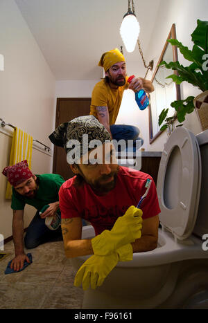 Composite image of man cleaning the bathroom. MR102 - Stock Photo