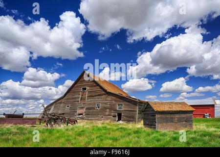 Abandoned farm buildings, near Leader, Saskatchewan, Canada - Stock Photo