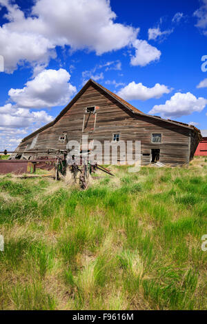 Abandoned barn, near Leader, Saskatchewan, Canada - Stock Photo