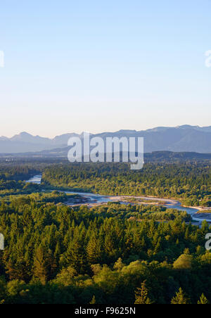 View of Pupplinger Au, Isartal and Alps from Weiße Wand viewpoint, Icking, Wolfratshausen, Upper Bavaria, Bavaria, - Stock Photo