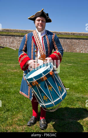 Member of the staff at the Fortress of Louisbourd in period uniform representing a French, 18th Century military - Stock Photo