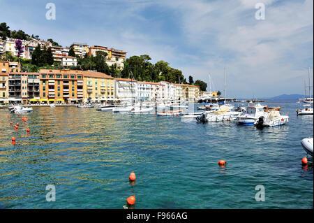 Coastal line of Tuscan town Porto Santo Stefano, Tuscany, Italy - Stock Photo