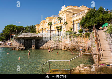 Hotel Kvarner. This was the first hotel in Opatija, and probably on the eastern coast of the Adriatic. It was built - Stock Photo