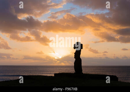 Ceremonial moai, Tongariki, Easter Island - Stock Photo
