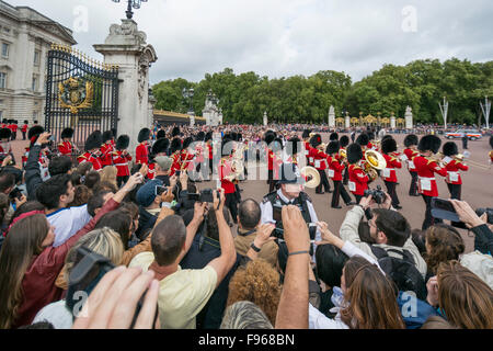 Changing Guard Ceremony takes place in Windsor Castle on August 16 2014, Windsor, England. British Guards in red - Stock Photo