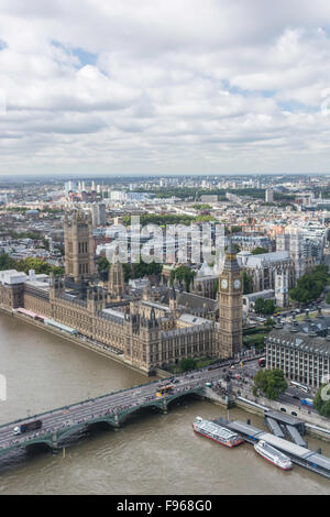 A view of Big Ben and House of Parliament in London, England, taken from a capsule of the London Eye panoramic wheel - Stock Photo