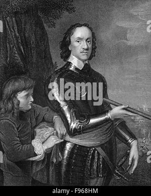 Oliver Cromwell, 1599 - 1658, the founder of the English republic, Lord Protector of England, Scotland and Ireland - Stock Photo