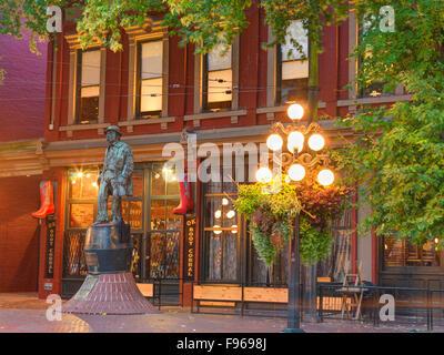 Gassy Jack statue in Gastown, Vancovuer, British Columbia, Canada - Stock Photo