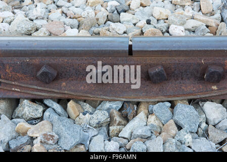 old rusted screw on railroad. rusty metal rail track fixed on stone - Stock Photo