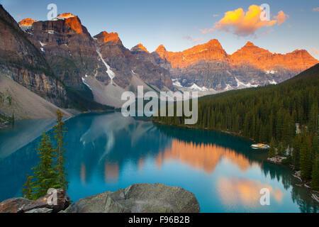 Moraine Lake at Sunrise, Banff National Park, Alberta, Canada - Stock Photo