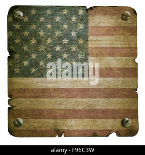 Rusty metal plate with american flag isolated on white - Stock Photo