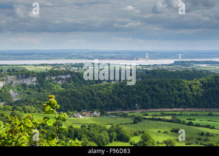 From the 'Eagles Nest' viewpoint at Wynd Cliff of the River Wye, Severn Estuary and M48 Suspension Bridge near St - Stock Photo