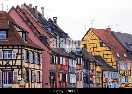 Colourful half timbered houses in Colmar, France - Stock Photo