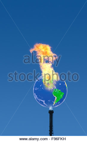 Concept illustration of greenhouse gas emissions causing global warming, climate change on earth. - Stock Photo