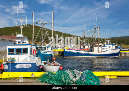 Fishing boats tied up at wharf, Heart's Content, Newfoundland, Canada - Stock Photo