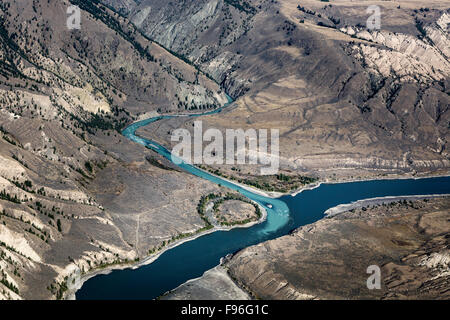 Canada, British Columbia, aerial photography, Chilcotin region,  junction of Chilcotin and Fraser rivers, BC grasslands, - Stock Photo