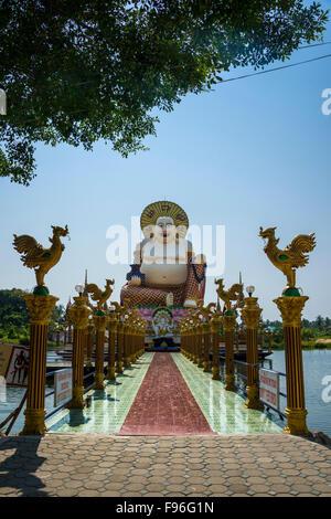 Laughing Buddha, Wat Laem Suwannaram Temple, Ban Bo Phut, Ko Samui, Thailand - Stock Photo