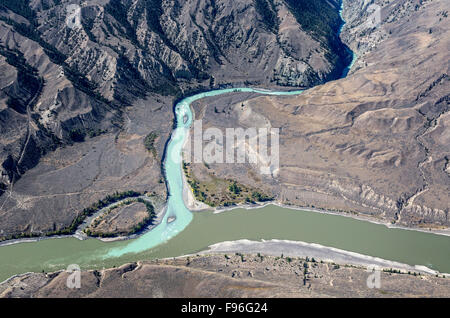 Canada, British Columbia, aerial photography, Chilcotin region,  junction of Chilcotin and Fraser rivers, - Stock Photo