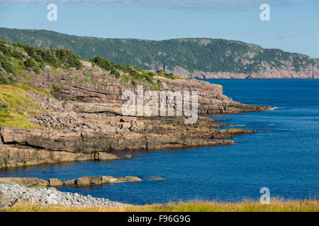 View towars Signal Hill from Blackhead, Newfoundland, Canada - Stock Photo