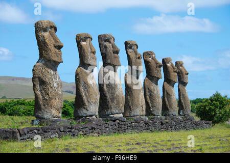 Ceremonial moai, Akivi, Easter Island - Stock Photo