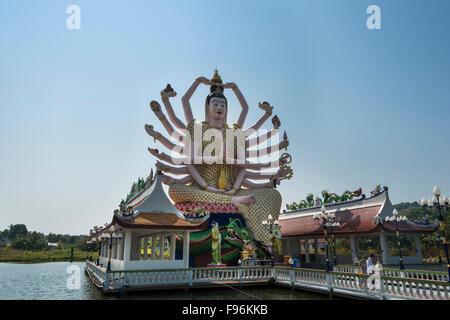 Goddess Avalokiteśvara, Wat Plai Laem, Wat Laem Suwannaram Temple, Ban Bo Phut, Ko Samui, Thailand - Stock Photo