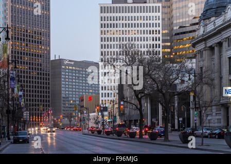 Portage Avenue, Downtown Winnipeg, Manitoba, Canada. - Stock Photo
