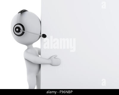 3d renderer illustration. White business people with headphones and blank board - Stock Photo