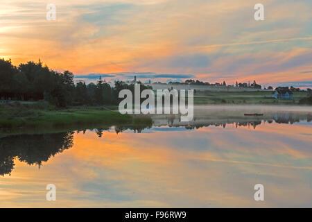 Dawn on the West River, Prince Edward Island, Canada - Stock Photo