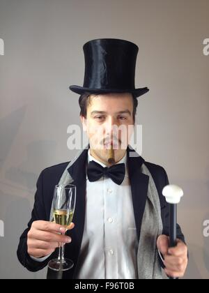 Man With Top Hat And Cigar - Stock Photo