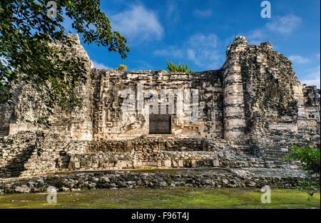 Monster-mouth doorway at Estructura II, Maya ruins at Hormiguero archaeological site, La Ruta Rio Bec, Yucatan Peninsula, - Stock Photo