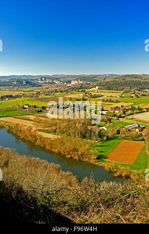 view of Dordogne River Valley from Domme, Dordogne Department, Aquitaine, France - Stock Photo