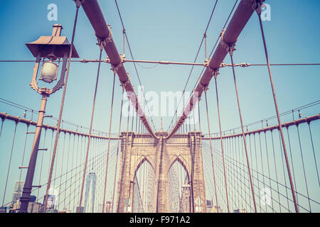 Vintage toned picture of the Brooklyn Bridge in New York City, USA. - Stock Photo