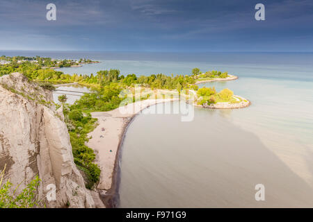 View  over Lake Ontario and Bluffers Park from the top of the bluffs in Scarborough Bluffs Park in east Toronto, - Stock Photo