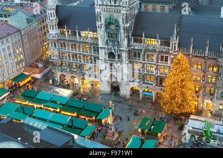 Overview of the Marienplatz Christmas Market and the New Town Hall, Munich, Bavaria, Germany - Stock Photo