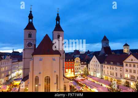 Overview of the Christmas Market in Neupfarrplatz, Regensburg, Bavaria, Germany - Stock Photo