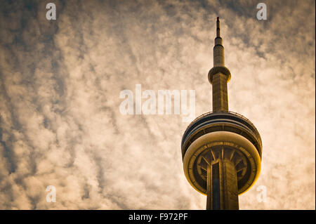 CN Tower and cloudy sky - Stock Photo