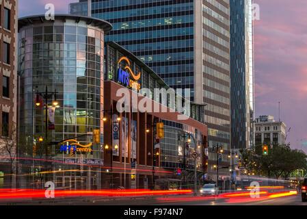 Portage Avenue and MTS Centre, Downtown Winnipeg, Manitoba, Canada. - Stock Photo