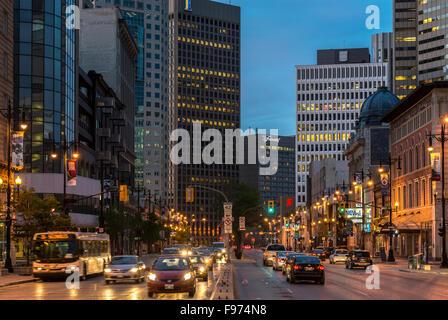 Portage Avenue at night, Downtown Winnipeg, Manitoba, Canada - Stock Photo